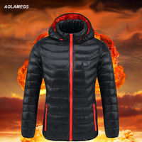 Aolamegs Women USB Smart Charging Heating Jacket Carbon fiber Parkas Thermostatic Clothes Winter Body Heating Thermal Clothing