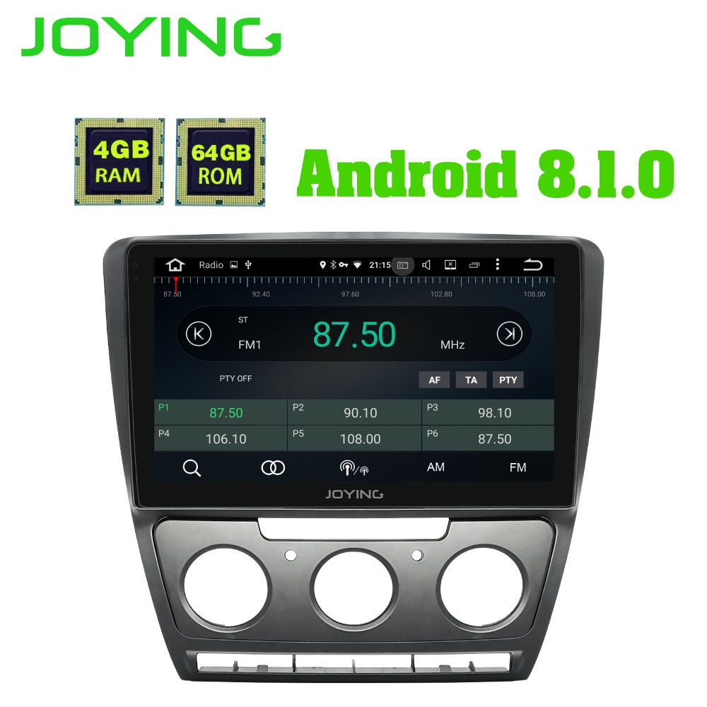 JOYING 10.1 inch 4GB RAM 64GB ROM Octa Core Android 8.1 Car DVD Radio GPS Stereo for SKODA Octavia 2007 2008 2009 2010 2011 2012