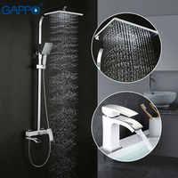 GAPPO blanc robinets de douche salle de bain douche bassin robinet mitigeur d'eau robinet bain ensemble sanitaire Suite