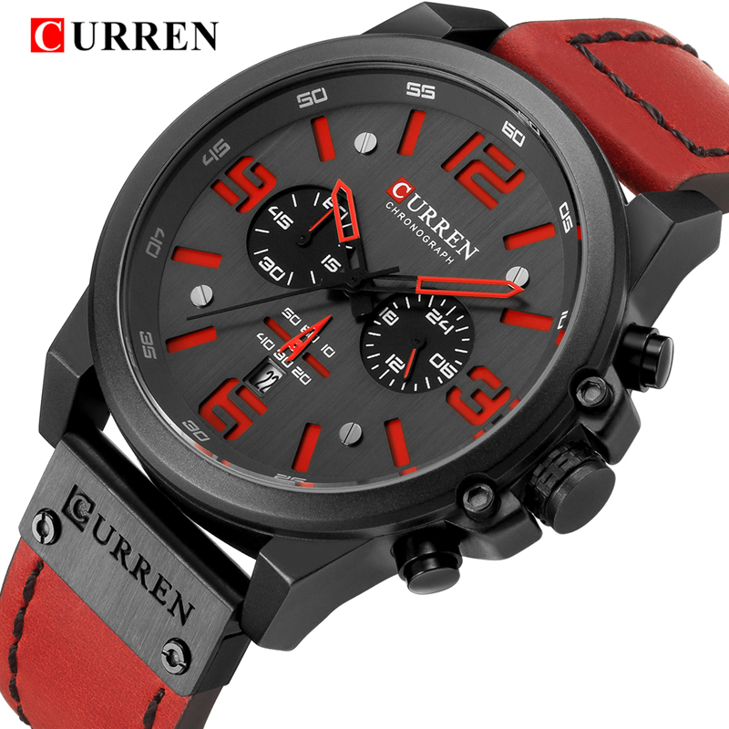 CURREN Mens Watches Top Luxury Brand Waterproof Sport Wrist Watch Chronograph Quartz Military Leather Strap Relogio MasculinoCURREN Mens Watches Top Luxury Brand Waterproof Sport Wrist Watch Chronograph Quartz Military Leather Strap Relogio Masculino