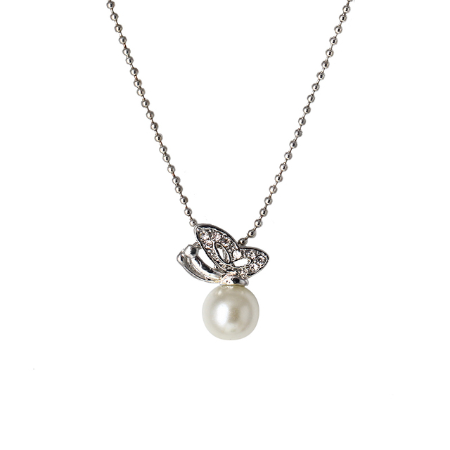 Special drill with butterfly pearl necklaces pendantscheap special drill with butterfly pearl necklaces pendantscheap fashion jewelry silver chain length 45cm mozeypictures Image collections