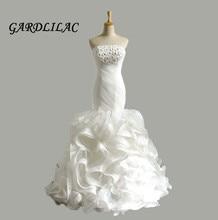 2019 White Mermaid Wedding dress Strapless 3D Flower Dresses Ruffles Skirt Robe de marie Vestidos Noiva