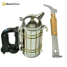 Benefitbee Beekeeping Apiculture Electric Bee Smoker Tool Equipment add Uncapping Scraper Knife Wood Handle Hive