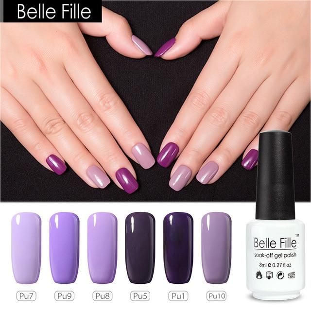 BELLE FILLE Purple Lavender Gel Polish 8ml UV LED Soak Off Gel Nail ...