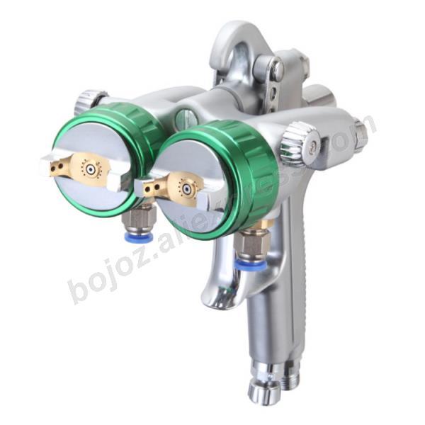 Double headed  1.3mm  spray gun pressure /siphon feed spray paint  chrome painting dual head Air pneumatic pressure sprayer-in Spray Guns from Tools on
