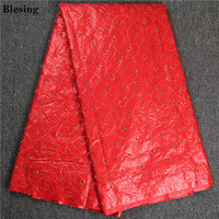 Blesing Red African Guinea Brocade Plain Weave Beautifical Bazin Riche Fabric Embroided Brocade Bazin Riche Getzner