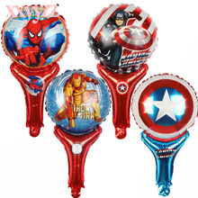 XXYYZZ Iron Man, Superhero Spider - Man Hand - held Magic Racket Hand - held Magic Stick Birthday Aluminum Balloon Toy Wholesale(China)