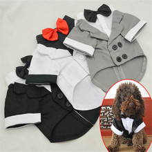 Brilliant Small Dog Business Suit Puppy Tuxedo Wedding Swallow-tailed Shirt Coat Formal Wear Clothes Festival Jacket For Dog Boy недорого