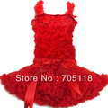Pure red lace top + skirt set,baby pettiskirt set,Girls Tutu Skirt set Girl aged 1-10 years old FREE SHIPPING