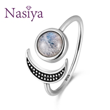 Nasiya Sweet Romantic Moon Adjustable Rings With Natural Moonstone For Women 925 Sterling Silver Fine Jewelry Mothers Day Gift