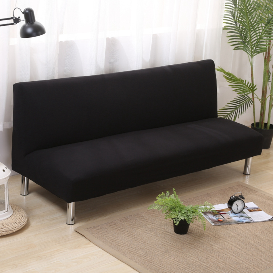 Universal anti dirty black armless couch sofa covers for for Black sectional sofa covers