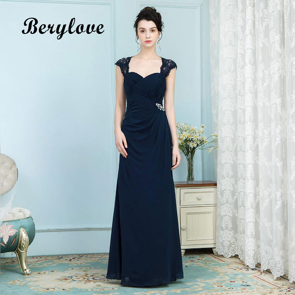 f5ad3cdd0a4 BeryLove Navy Mermaid Evening Dress Styles 2019 Keyhole Back Long Beaded  Lace Cape Mom Formal Sweetheart