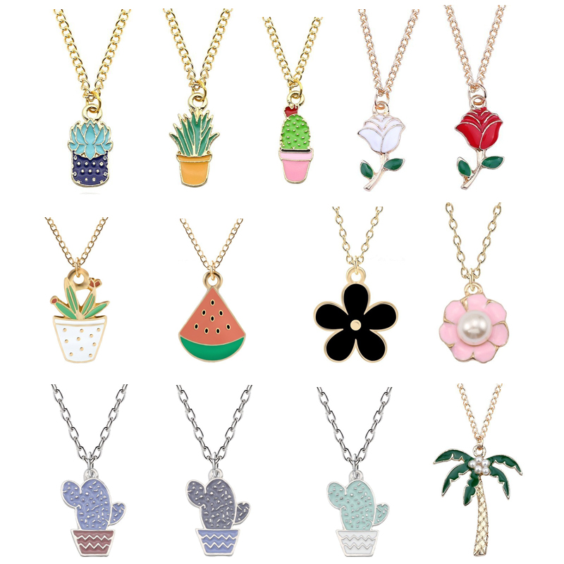 New Fashion Colorful Plant Pendant Female Pearl Flower Pot Planting Watermelon Cactus Alloy Necklace Christmas Child Gift