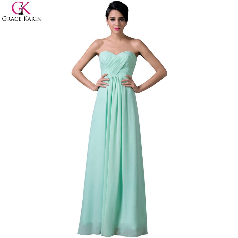 Cheap Grace Karin Pale Turquoise Strapless Sleeveless Long Chiffon Bridesmaid