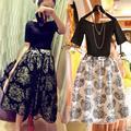 2016 moda vintage elegante de dos piezas de las mujeres twinset womens dress verano flora patrón de vestidos de organza vestidos de bola