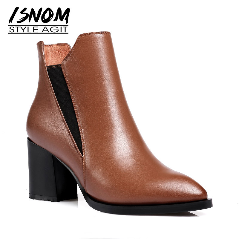 ISNOM New High Heels Women Ankle Boots Solid Pointed Toe Short Plush Footwear Cow Leather Female Boot Black Shoes Women 2018 6pcs semi metallic non asbestos front rear brake pad for cfmoto cf500 500cc cf600 600 600cc x5 x6 x8 u5 atv utv 9010 0808ao
