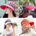 Moda Rosto Anti-UV Proteção Chapéu de Sol de Verão Chapéus Para As Mulheres Dobrável Ampla Grande Brim Mulheres Ajustáveis Chapéu de Verão Frete Grátis