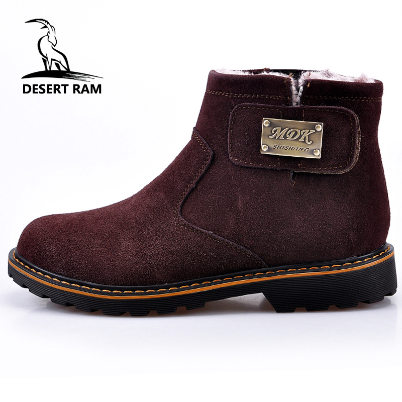 DESERT RAM Brand Men's Boots Quality Male Shoes Suede Leather Drive Shoe Warm Fur Winter Casual Snow Bot Man Mens Ankle Boots desert ram brand new ankle bot lace up men s boots leather boots for men shoes casual boot male winter black white sneakers shoe