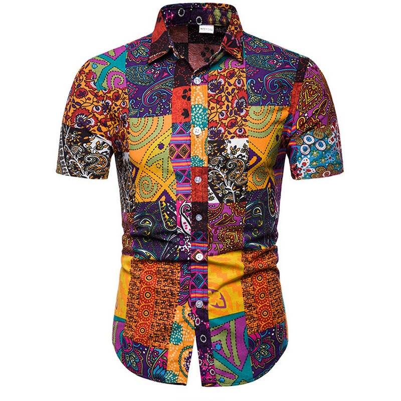 Homme Hawaïen Chemise Homme décontracté camisa masculina Imprimé Plage Chemises À Manches Courtes vêtements de marque Livraison Gratuite Taille Asiatique 5XL