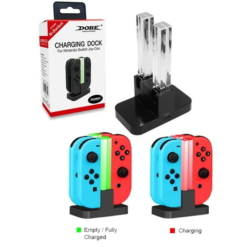 4-In-1 LED USB Charge Station Dock Stand For Nintend Switch Joy-Con Controller
