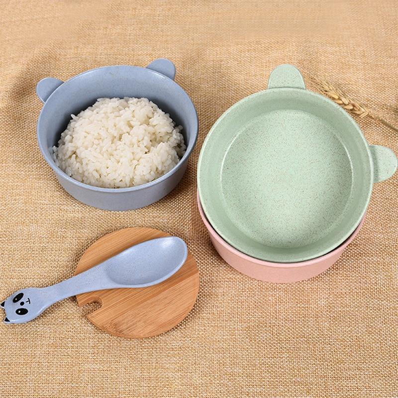Cartoon Panda Baby Feeding Food Tableware 2pcs Baby Eating Dinnerware Sets Kids Dishes Anti Hot Baby Training Bowl Spoon