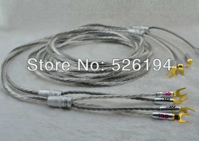Free shipping Pair XLO HT6 audiophile Speaker Cable With spade plug speaker cable