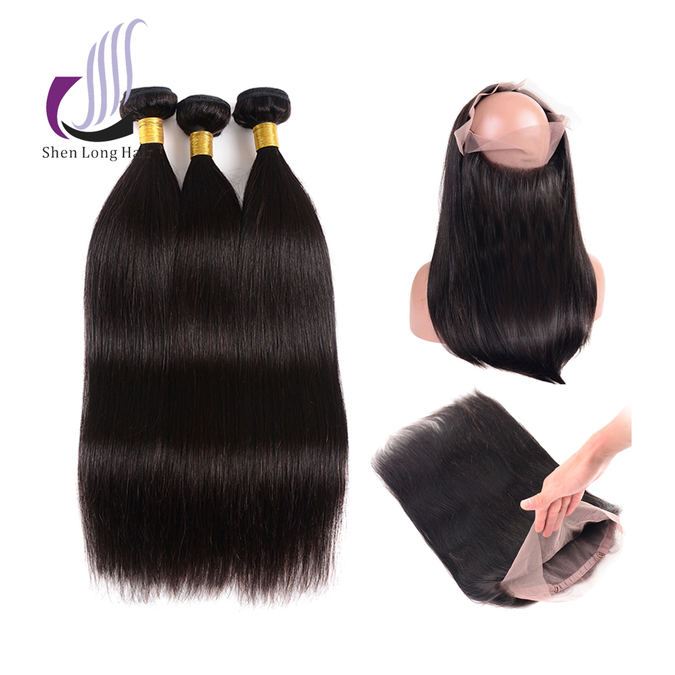 Impartial Shenlong Straight Malaysian Hair Bundles With Lace Frontal Closure Remy Human Hair Bundles With 360 Frontal Fast Shipping High Quality Materials Hair Extensions & Wigs Human Hair Weaves