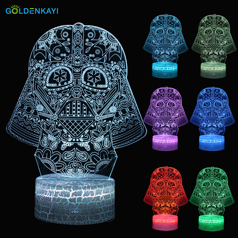 3D Star Wars Darth Vader LED Originality Night Lights Atmosphere Table Lamp Touch Switch Multicolor For Bedroom Decorative Lamp