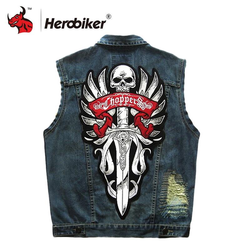 HEROBIKER Motorcycle Rider Vest Motorcycke Jacket Motorcycle Clothing Men Classic Vintage Club Denim Sleeveless Biker Waistcoat men destroyed denim jacket
