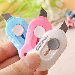 Милый Одноцветный Мини Портативный нож для резки бумаги лезвие для бритвы офисные канцелярские принадлежности Escolar Papelaria
