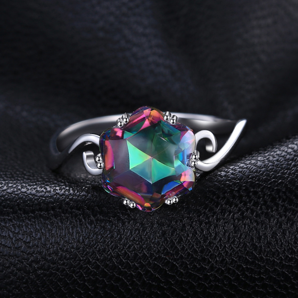JewelryPalace 3.2ct Genuine Rainbow Fire Mystic Topaz Ring Solid 925 Sterling Silver Jewelry Best Gift For Women Fine Jewelry 1