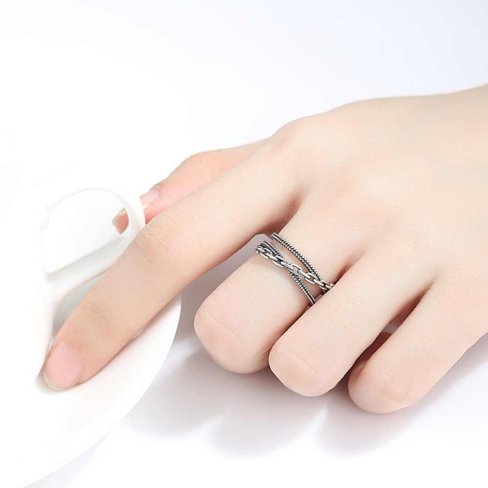 MSXNEOW 925 Sterling Silver Vintage Couple Rings Three Layer Chain Type Punk Open Ring for Men and Women Wholesale SR0312