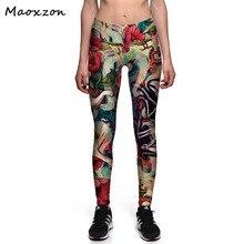 Maoxzon Womens Comics Digital Print Slim Fitness Leggings For Female Casual Workout Deportes High waist Elastic Skinny Pants