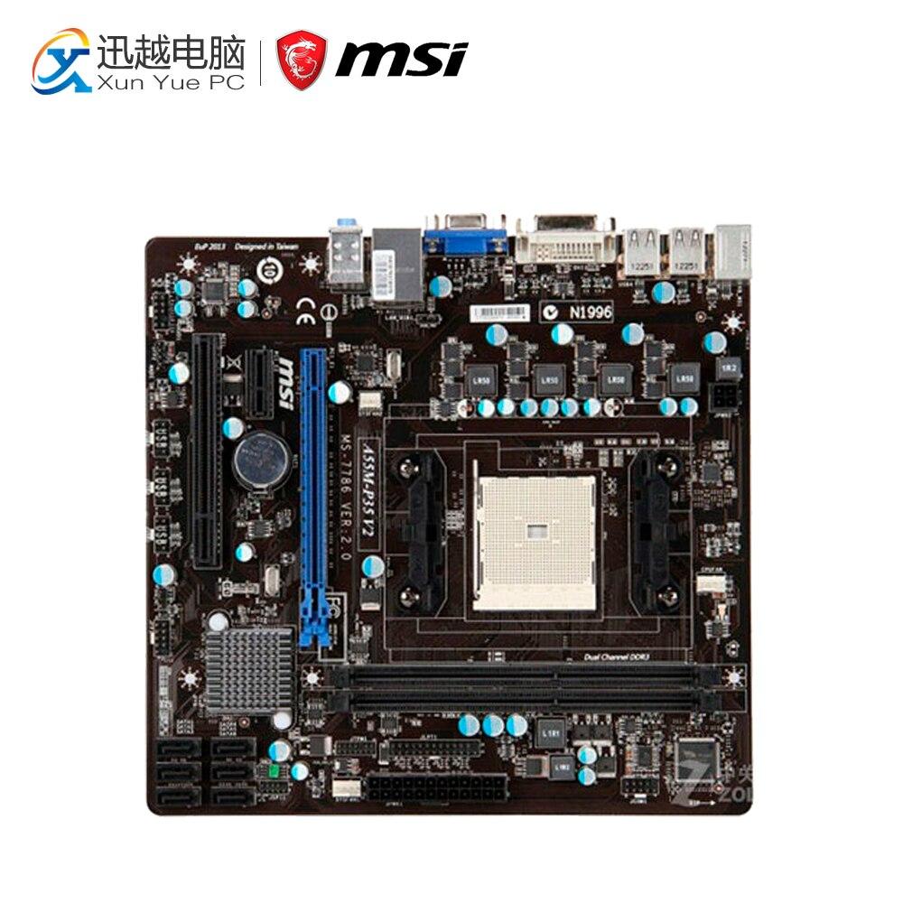 MSI A55M-P35 V2 Desktop Motherboard A55 Socket FM1 DDR3 SATA2 USB2.0 Micro ATX free shipping original motherboard for asus f1a55 v plus socket fm1 ddr3 boards a55 desktop motherboard