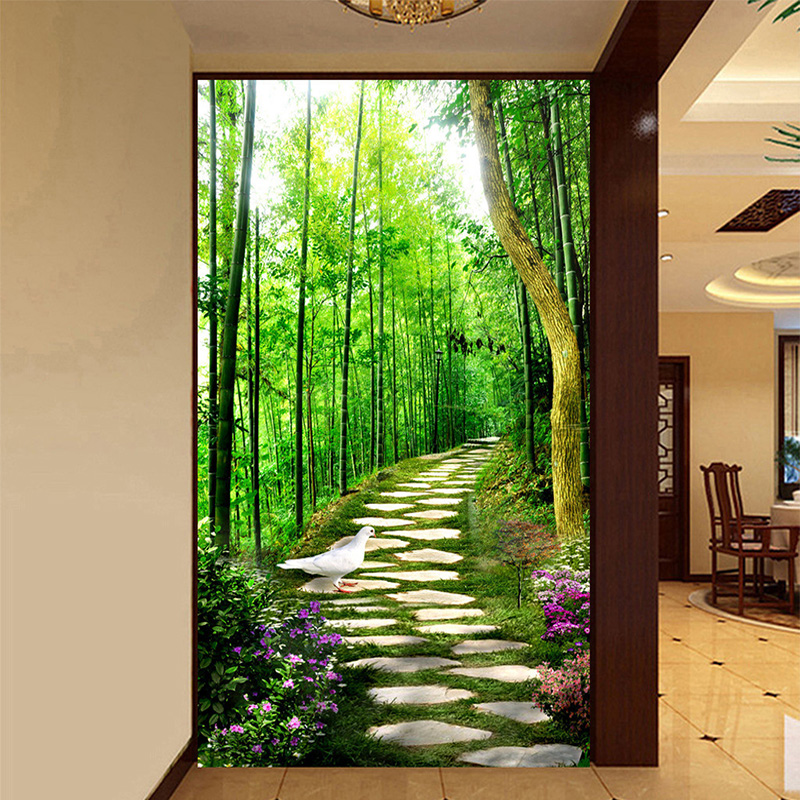 HD Fresh Small Road Green Bamboo Forest 3D Photo Mural