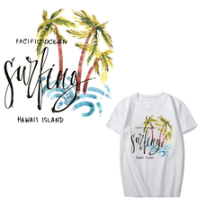 Iron on Palm Tree Patches for Clothes DIY T-shirt Applique Heat Transfer Vinyl Letter Patch Stickers Clothing Press