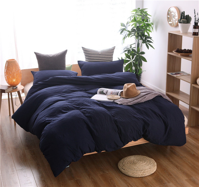 Free Shipping Simple Nordic Scandinavian Solid Navy Blue Color Pattern Home Dorm Bedding Duvet Cover Set With Pillow Case Sham