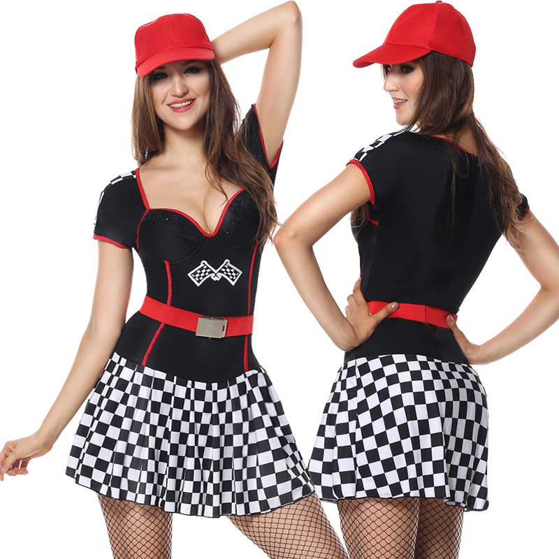 Women's Costumes 3 Pieces Speeder Race Car Driver Girl Costume Racer Uniform Dress+belt+hat S M L Xl 2xl Careful Calculation And Strict Budgeting