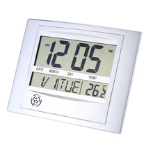 Promo offer Wireless Digital Wall Clock Indoor Temperature Electric Desk Clock Easy-reading Big LCD Display Thermometer Weather Station