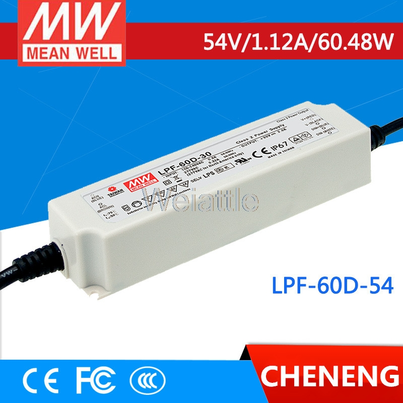 MEAN WELL original LPF-60D-54 54V 1.12A meanwell LPF-60D 54V 60.48W Single Output LED Switching Power SupplyMEAN WELL original LPF-60D-54 54V 1.12A meanwell LPF-60D 54V 60.48W Single Output LED Switching Power Supply