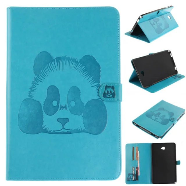 Panda pintura stand leather flip case para samsung galaxy tab a a6 10.1 p580 p585 sm-p585 tablet pc case back cover cartão Slots