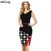 Oxiuly New Women Sleeveless Formal Work Knee Length Belted Black Grid Casual Office Business Bodycon Elegant
