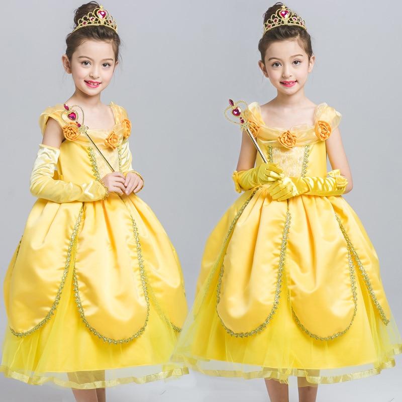 S3015 Wholesale  2017 Summer Children Girl Dress Ball Gown Beast BELLE PRINCESS DRESS