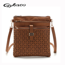 Women Flower Carved Hollow Out Vintage Messenger Corssbody PU Leather Flap Bag Casual Shoulder Bags Girls