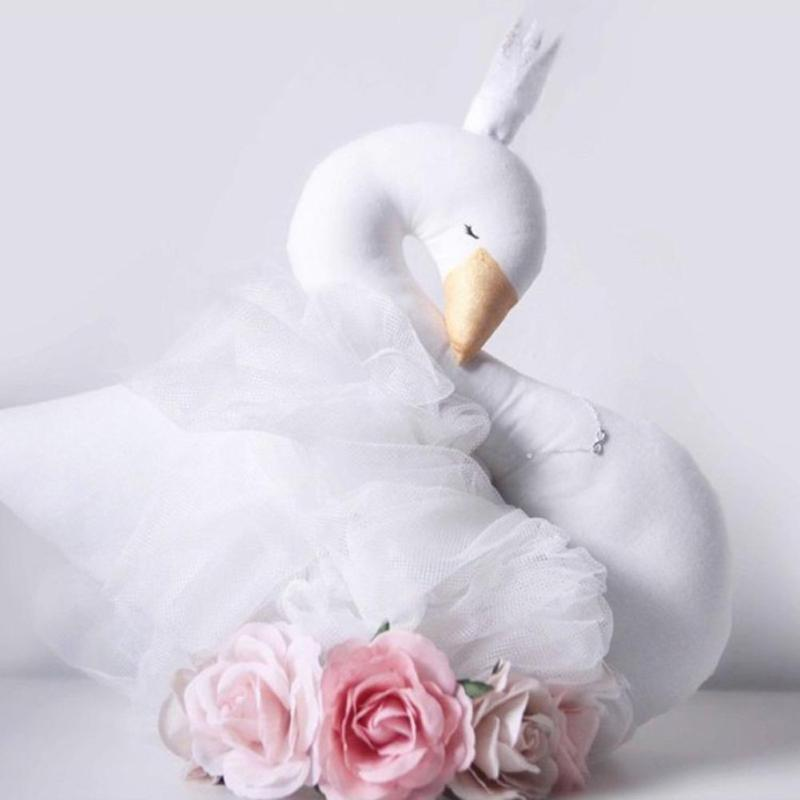 INS Hot Sale Super Cute Swan Double-sided Printed Pillow Cushion For Girl Children Kids Bed Room Decoration Baby Gift L50