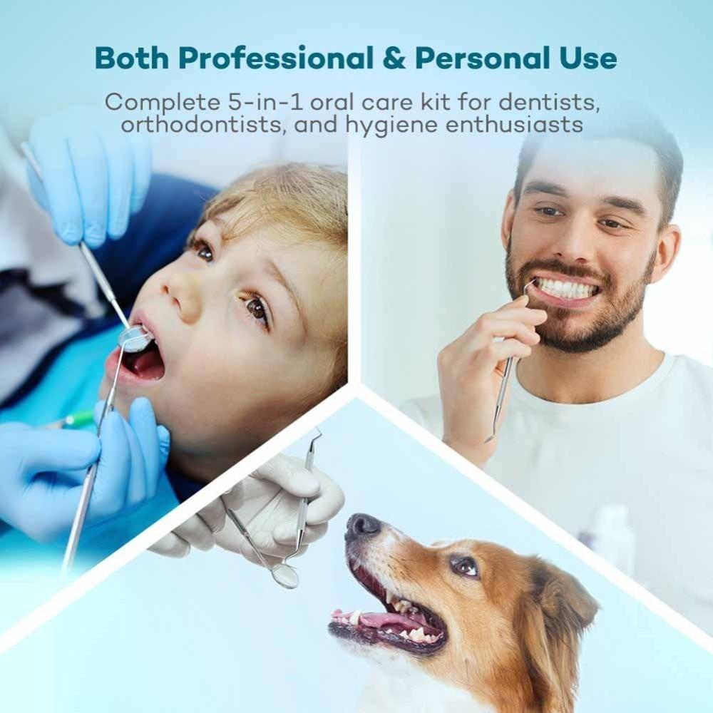 Набор стоматологических инструментов, набор инструментов для гигиены зубов (6 шт.), в том числе стоматологическое зеркало, скребок для брезе...