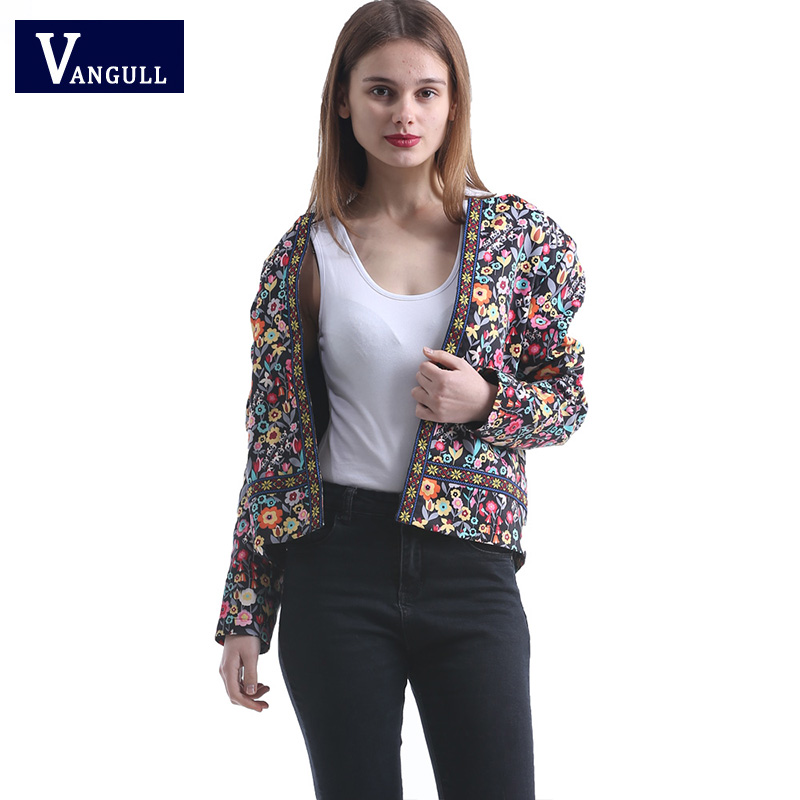 2018 new spring Placket Botanical  Jacket for Women Multicolor Collarless Elegant Jacket Ethnic floral embroidery  jackets