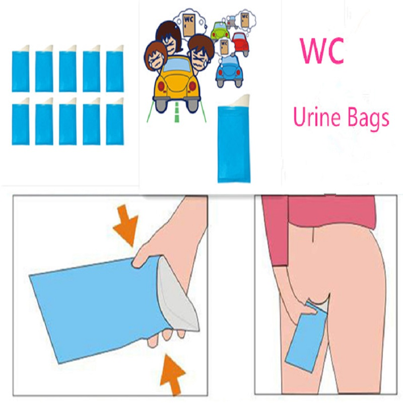 10pcs Disposable Automobiles 600cc Urine Bags Storage Bag Voiture Car Outdoor Pee Bags Absorbing Emergency Mobile Toilet
