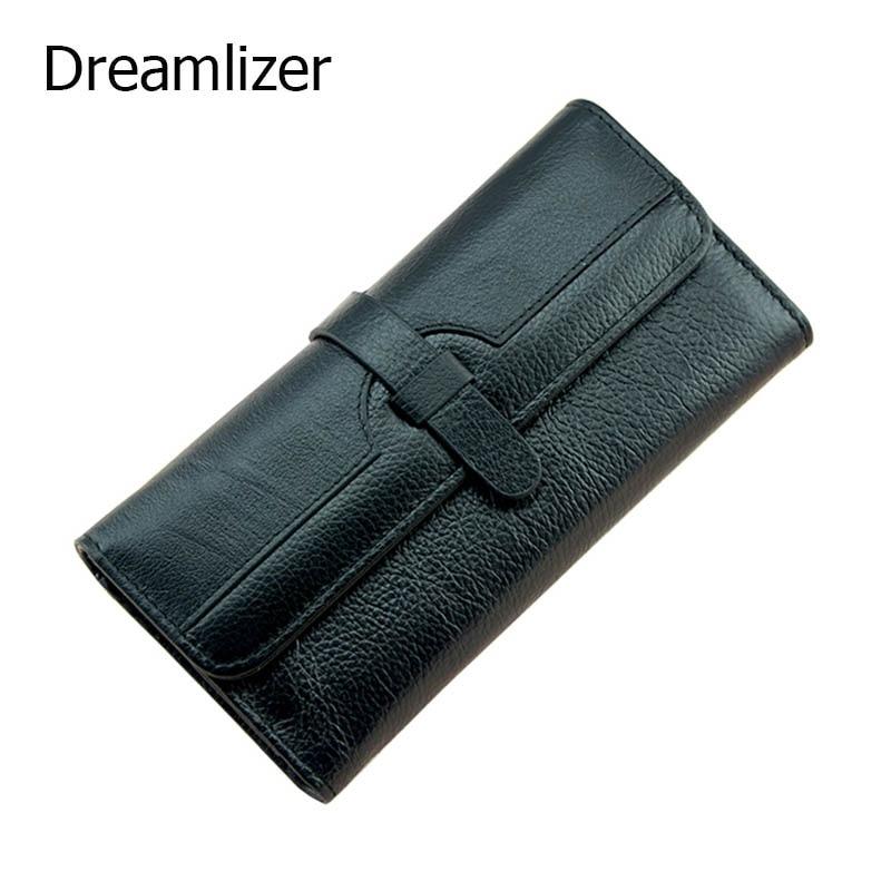 Dreamlizer 100% естествена кожа портфейл жени триолд кожен съединител портмоне Yong дълго мобилен телефон чанта портфейла дама карта  t