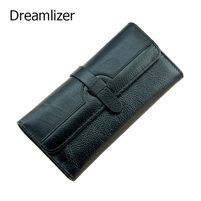 Dreamlizer 100% Genuine Leather Wallet Women Triold Leather Clutch Purse Yong Long Cellphone Bag Wallet Lady Card Holder